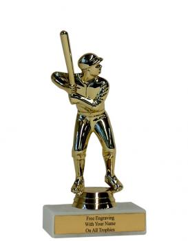 Male Baseball Figure on One Hole Marble Base