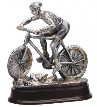 Mountain Biker resin award on mahogany finish base trophy