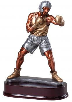 RF24542 Male Boxer Statue on Mahogany Base statue award