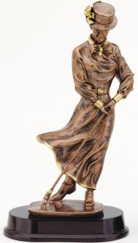 RF2408B Old Fashion Female Golfer Bronze Statue
