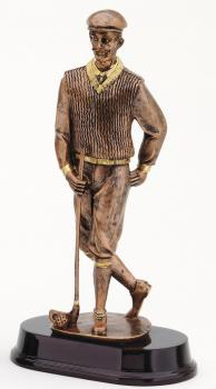 RF2413B Old Fashion Male Golfer Bronze Statue