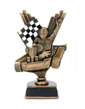 Resin Racing Go Kart award with Racing Flag