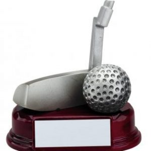 Putter Golf Club in Pewter Finish on Mahogany finish base award
