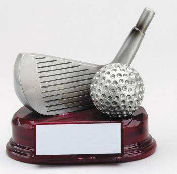 Wedge Golf Club in Pewter Finish on Mahogany finish base award