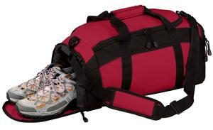 BG970 Gym Duffle Bag shown in red open for separate pouch for wet or dirty items