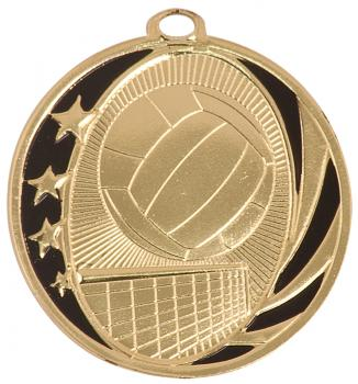 MidNite Star Laserable Volleyball Medal shown in gold