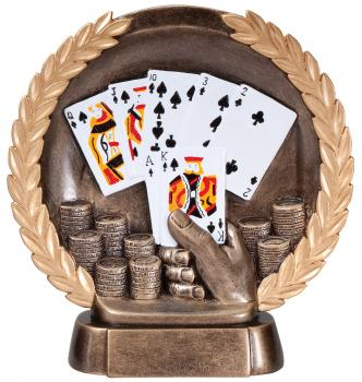 Super 3D Cards/Poker Bronze Finish Circular Plate Award