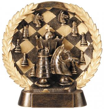 Super 3D Chess Bronze Finish Circular Plate Award