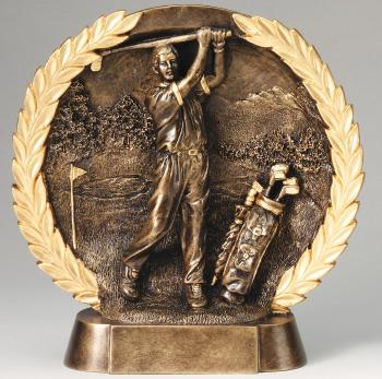Super 3D Male Golf Bronze Finish Circular Plate Award