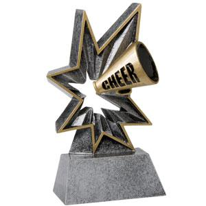 Spring-Loaded Action this resin award really bobbles cheerleading trophy