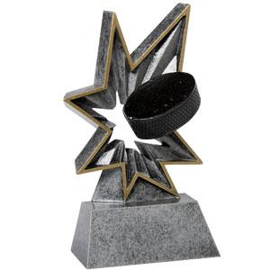 Spring-Loaded Action this resin award really bobbles hockey trophy