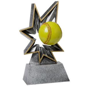 Spring-Loaded Action this resin award really bobbles softball trophy