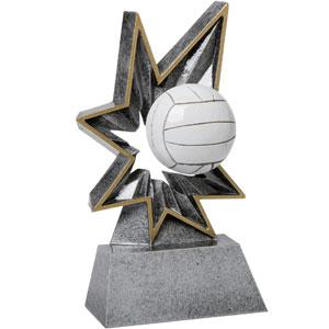 Spring-Loaded Action this resin award really bobbles volleyball trophy