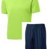 st350 dryfit shirts lime shock with navy shorts