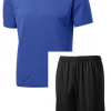 st350 dryfit shirts royal with black mesh shorts package