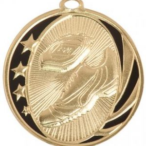 MidNite Star Laserable Track Medal shown in gold
