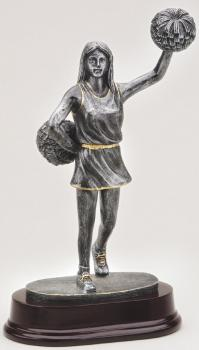 MPI RF2261 Pewter Finish Cheerleader on Mahogany Base Award