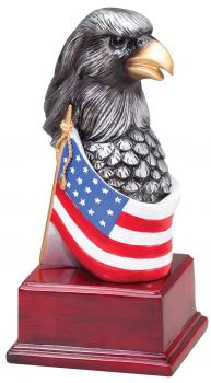 MPI Silver Tone American Eagle Head with Flag Resin Award