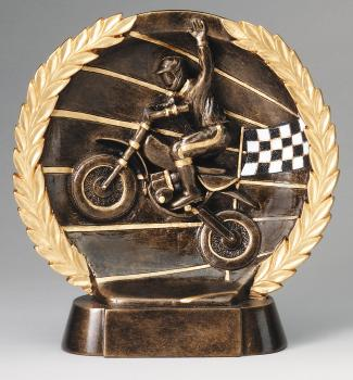 Super 3D Motocross Bronze Finish Circular Plate Award
