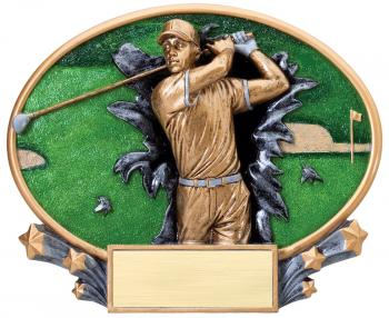 MX2003 Male Golf Xplosion Oval Resin Award