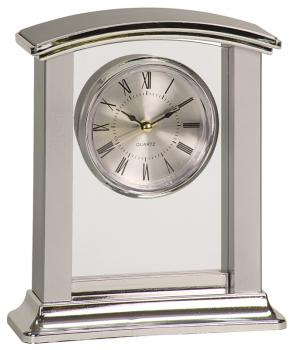PC003 Silver Plastic Arched Clock