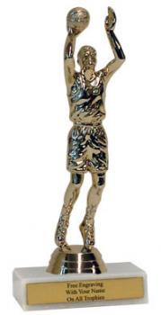 Basketball Figure on One Hole Marble Base Trophy