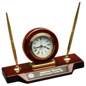 JDS T154 Piano Finish Desk Clock with 2 Pens