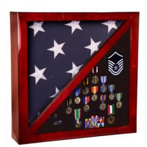 PFC18 Rosewood Piano Finish Flag and Medals Display Case