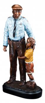 Police Officer with Child Sculpture Full Color Resin Statue
