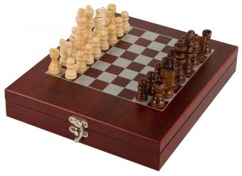 JDS CHES01 Rosewood Finish Chess Set with pieces shown