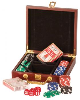 JDS PKR01 Rosewood Finish Poker Set inc Chips Cards and Dice