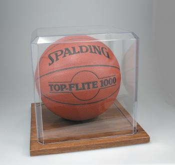 KH5 Basketball Clear Display Case With Oak Base