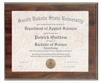 Certificate Holder Cherry Finish Plaque