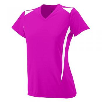 Power pink with white trim ladies v neck jersey shirt breast cancer awareness
