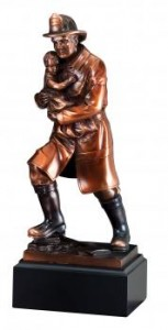 Firefighter with Chid Sculpture Bronze Resin Statue