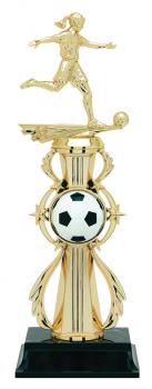 PDU 96514 Female Soccer Star Action Riser Trophy