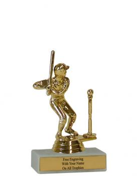 Tee Ball Figure on One Hole Marble Base