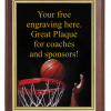 6X8 PLAQUE WITH CUSTOM SPORT PLATE BASKETBALL
