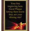 6X8 PLAQUE WITH CUSTOM SPORT PLATE SHINING STAR
