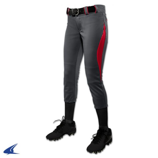bp28 surge graphite gray with scarlet red trim surge softball pants