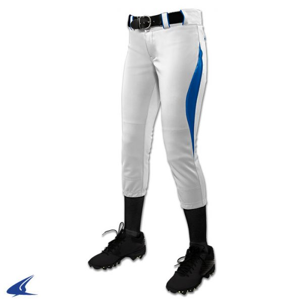 bp28 surge white with royal blue trim surge softball pants